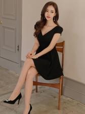 Simple Design Lace Stitching Black A-Line Dresses