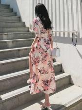 Leaf Printed Tie-Wrap Smocked Waist Maxi Dresses