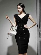 OL Style Button Decor Slim Black Sleeveless Dress