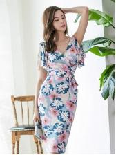 V Neck Binding Ruffles Sleeve Flower Dresses