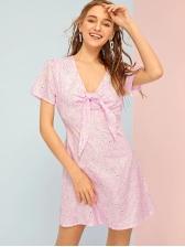 V Neck Bow Printed Short Sleeve Blush Dress