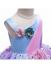 Curly Flower Sheer Patchwork Girl Gauze Dress