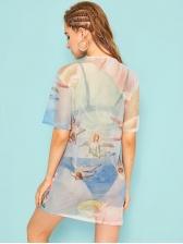 Perspective Gauze Printed Lightweight Short Dress