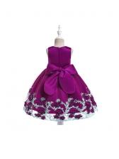 Curly Flower Decor Bow Sleeves Girl Dress