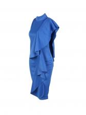 One Shoulder Mock Neck Solid Color Ruffles Dress