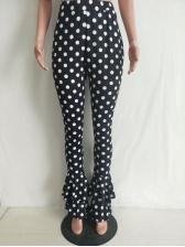 Polka Dots High Waist Flounce Hem Pants
