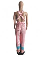 Backless Sleeveless Pleated Wide Leg Jumpsuit