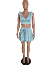 Deep V Neck Solid Flounced Hem Skirt Sets