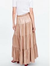 Fashion Light Golden Pleated Maxi Skirt