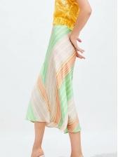 Summer V Striped Soft Midi Skirt For Women