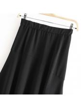 Button Long-line Split Hem Black Midi Skirt