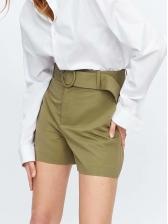 Hot Sale High Waisted Green Short Pants