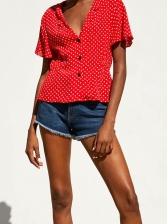 Heart Printed Smart Waist Short Sleeve Shirt