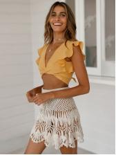 Euro Trendy Hook Flower White A-Line Skirt