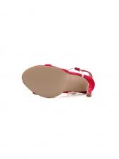 Contrast Color White Rivets Ankle Strap Sandals