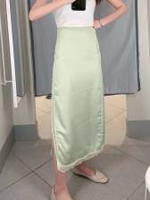 Fresh Solid High Waist Lace Split Skirts
