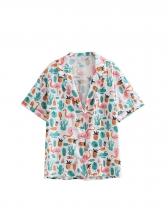 Turn-Down Collar FlamingoPrinted Blouse For Women