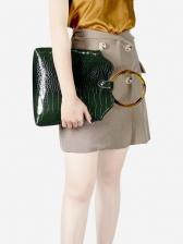Vintage Style Round Handle Crocodile Pattern Handbag