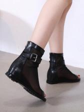 Peep-toe Gauze Patchwork Roman Ankle Boots