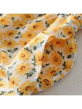 Elastic Short Sleeves Floral Ladies Romper