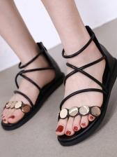 Metal Splicing Cross Strap Roman Flat Sandals