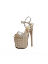 Peep Toe Glitter Platform Stiletto Heels