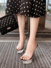 Summer Rhinestone PVC Heeled Slippers