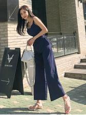 V Neck Backless Solid Wide Leg Jumpsuit