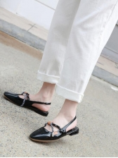 British Style Striped Strap Lace Up Flats