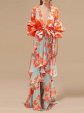 Printing Bow Ruffles Hem Lantern Sleeve Maxi Dress