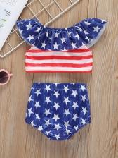 Star Striped Ruffles Sleeve Girl Swimsuit Sets