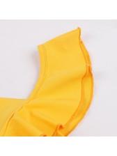 Fashion Agaric Laces Yellow Big Swing Dress