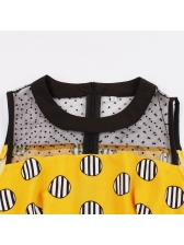 Vintage Striped Dot Sleeveless Big Swing Dress