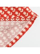 V-neck Printed Ruffled Sleeves Dress