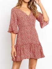 V Neck Three Quarter Sleeve Printed Chiffon Dress