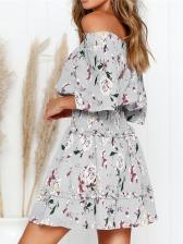 Off Shoulder Printed Three Quarter Sleeve Dress