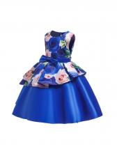 Contrast Color Binding Bow Girls Flower Dresses