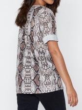 Hot Sale V Neck Snake Print t-Shirt