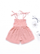 Tie Shoulder Solid Color Baby Girls Romper