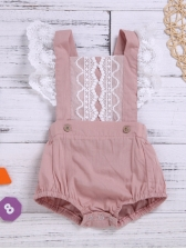Square Neck Lace Detail Girl Blush Romper