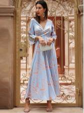 Deep V Neck Printing Three Quarter Sleeve Maxi Dress