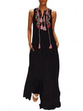 Tassel Lace Up Flower Printed Sleeveless Maxi Dress