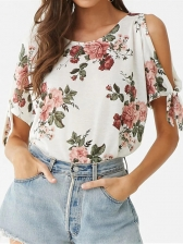 Casual Flower Printed Off Shoulder T-shirt