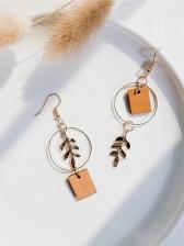 Small Wood Board Leaf Asymmetric Earrings