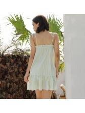 Tied Shoulder Striped Flounce Hem Mini Dress