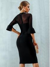 Mock Neck Lace Patchwork Black Evening Dress
