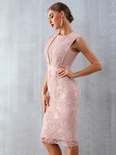 Boutique Lace Patchwork Bodycon Evening Dress