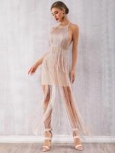 Boutique Tassel Backless Halter Evening Dress