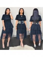 Casual Gauze Patchwork Printed Dress