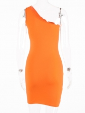Solid One Shoulder Backless Bodycon Dress